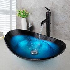 Bathroom Black Bamboo Mixer Faucet Tempered Glass Blue Oval Basin Sink Drain Set