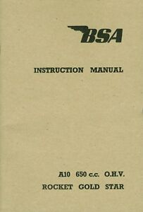 BSA Rocket Gold Star A10 RGS Twin Motorcycle Instruction Manual 1962-1963 650