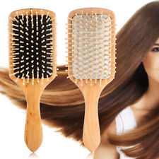 Wood Natural Paddle Brush Wooden Hair Care Spa Massage Comb Anti-static S3N7
