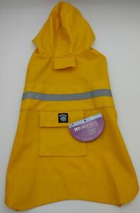 Dog Raincoat Yellow Waterproof Outdoor Pet Doggie Rain Coat Rainwear Medium New