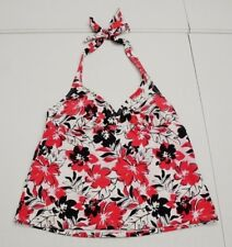 Catalina Womens M 8-10 Red Floral Padded Tie Back Tankini Swim Suit Top