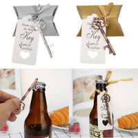 20pcs Wedding Retro Key Bottle Opener Gift Tag Ribbon Candy Box Crafts for Party
