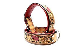 Small Tooled Red Heart Bully MadcoW Dog Collar Western Floral K9 Style Leather