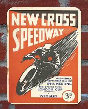 Vintage Tin Sign 1937 New Cross Speedway Programme Metal Sign Man Cave