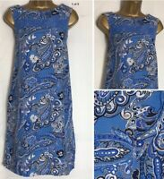 Next Blue Paisley Print Linen Blend Pocket Tunic/Shift Dress Size 8-16  (n-68h)