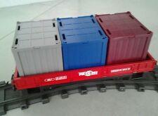 PLAYMOBIL® 5258 WAGON + 3 CONTENEURS RC # LBG® GARE FIGURINE TRAIN RAIL (4) ☆ 1E