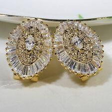 18K Yellow Gold Filled Clear CZ Women Fashion Jewelry Drop Stud Earrings E2318