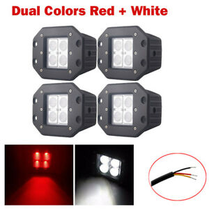 """4X Red White Dual Colors LED Cube Pods Work Light 5"""" Flush Mount Flood Truck SUV"""