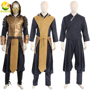 Mortal Kombat Cosplay Scorpion Costume Ninja Armor Suit Vest Mask for Halloween