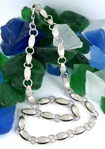 """Sterling Silver 925 Brush Finish Foldover Link Chain Necklace 16.5"""""""