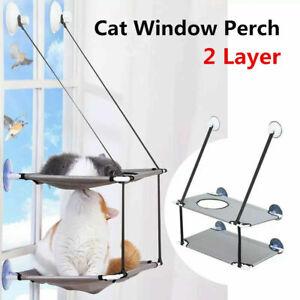 Pet Cat Window Perch 2 Layer Cat Hammock Sleeping Hanging Beds Seat Mount Stack