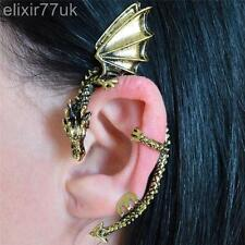 NEW GOLD DRAGON SNAKE EAR CUFF CLIP ON PEWTER GOTHIC PUNK ROCK EARRING JEWELLERY