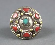 """Nepal Ring with """"Catseye"""" Cabachon Stones & Coral Size 10.5 USA SELLER"""