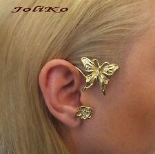 JoliKo Ohrklemme Ear cuff Ohrring Elfen Elben Schmetterling Emaille Gold RECHTS