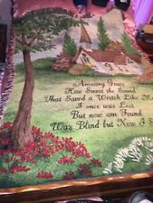 Amazing Grace Hymn Tapestry Throw Lap Blanket Wall Hanging Woven Church Song Euc