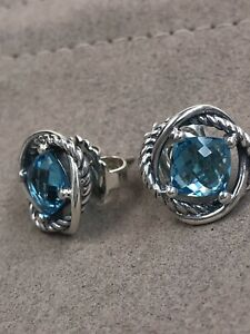 David Yurman Silver Infinity Stud Earrings with Blue Topaz 7mm Authentic Used