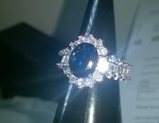 CREATED BLUE SAPPHIRE CLUSTER +BAGUETTE CUT ON BAND.SILVER SIZE N NEW