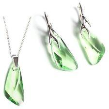 Silber 925 Schmuck-Set mit Swarovski® Kristallen Flügel Grün Kette Ohrringe