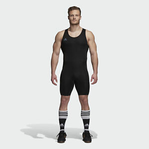 Powerlift Weightlifting Singlet Adidas Suit Bodybuilding Leotard Black Mens
