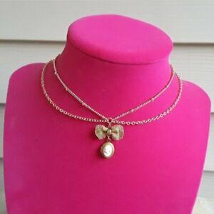 Layered Pink Victorian Lady Locket Bow Choker Necklace