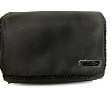 Chanel Perfume Black Glittery Makeup Cosmetic Travel Case Clutch Zipper Magnetic