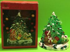 Holiday Expressions Christmas Tree Candle Holder Hand Painted Polyresin