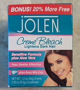 Face Dark Hair Lightener Jolen Creme Bleach Sensitive Formula Aloe Vera 1.2 oz