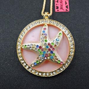 Betsey Johnson Crystal Cute Animal Starfish Pendant Necklace Sweater Chain