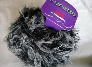 Knitting Yarn ~ Adriafil Furetto shade 78 black/grey 50g ball fur effect