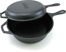 3.2 Quart Pre-seasoned Cast Iron Cookware Set Skillet Fryer & Dutch Oven, Black