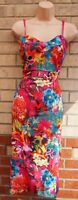 STYLE WISE PINK MULTI COLOUR FLORAL ORCHIDS STRAPPY BODYCON PENCIL DRESS 6 XS