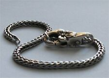 Genuine Sterling Silver TROLLBEADS 19cm BRACELET. 17cm + FLOWER LOCK New