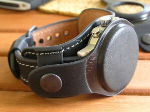 Genuine Leather Watch Strap 20mm 22mm Black Men Watch Bund Band Vintage Cuff
