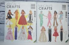 McCalls Crafts Patterns 8552, 9663 Fashion Doll Clothes Glamour Dresses