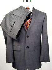 IZOD Mens Two Button Suit 38R 32 x 30 Gray Pinstripes Pleats No Cuffs 100% Wool