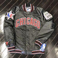 Brand New 2020 Chicago All Star Game Starter Jacket Bulls Black Blue NBA Flag L