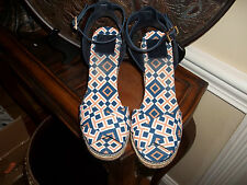 Tory Burch Crisscross Platform Navy/Orange/White Espadrilles Wedge Shoes 11B