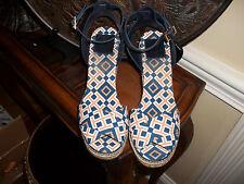 Tory Burch Crisscross Platform Navy/Orange/White Espadrilles Wedge Shoes 11B