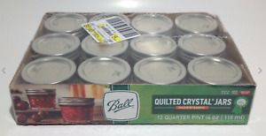 """Ball Quilted Crystal Class Mason Jars Regular Mouth 4 oz 12 Pack """"SHIP NEXT DAY"""""""