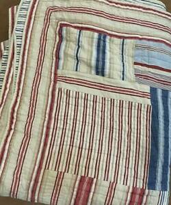 Pottery Barn King Size Quilt Tan/Red/Blue/Cream Ticking Pattern Heavy Very Good