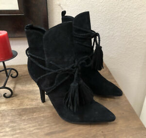 SCHUTZ Fadhila black braided tasseled lace-up suede ankle  Booties EUR 38/US 7.5