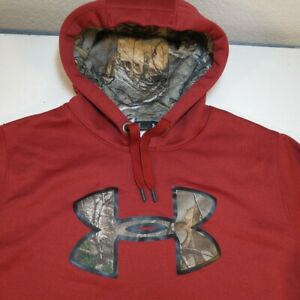UNDER ARMOUR CAMO CAMOUFLAGE LOGO HOODIE HOODED SWEATSHIRT Sz Mens L Red