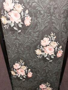 Brigitte, Peach & Black Floral Damask Wallpaper