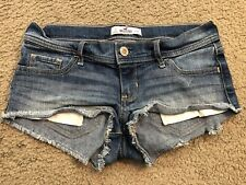 HOLLISTER Distressed Stretch Low Rise Cut Off Denim Jean Bootie Shorts womens 3