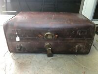 Antique 1800's leather travel trunk suitcase