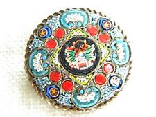 Vintage MICROMOSAIC large brooch ~ strong colours lovely mosaic