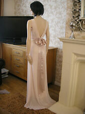 6 TFNC NUDE DRESS SATIN BOW BACK BRIDAL / BALL 20'S 30'S VINTAGE GATSBY SUMMER