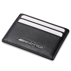 AMG Benz Slim Card Holder Genuine Leather Thin Credit ID Case Men Mini Wallet