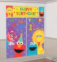 Sesame Street 1st Birthday Scene Setter Wall Decoration Kit Party Decorations