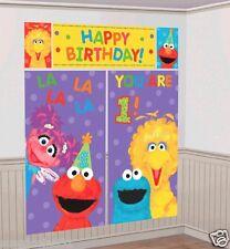 Sesame Street 1st Birthday Scene Setter Wall Decoration Kit Party Decorations